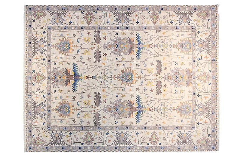 9'x12' Viktor Hand-Knotted Rug, Ivory/Light Blue