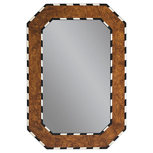 Orwell Wall Mirror, Burl Wood
