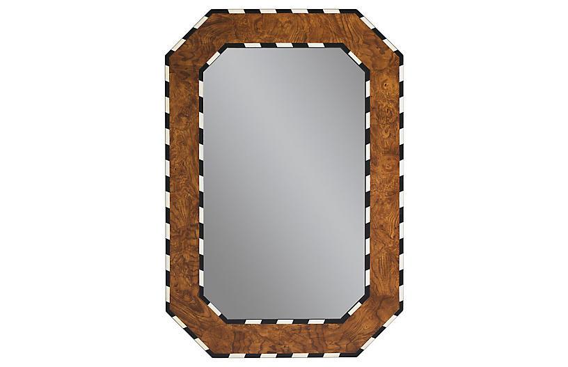Orwell Wall Mirror, Burl Wood
