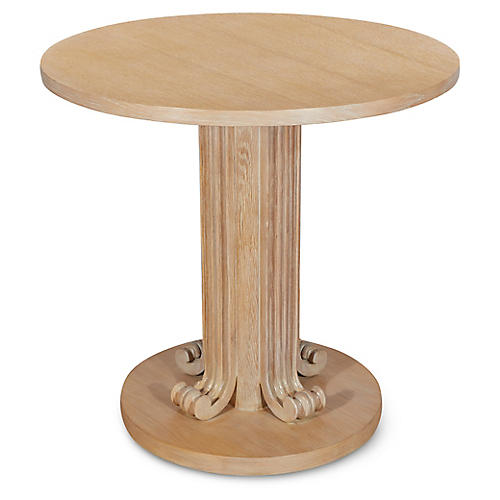 Wave Side Table, Cerused Oak
