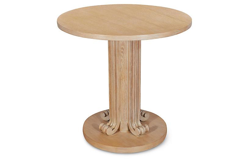 Wave Side Table, Cerused Oak