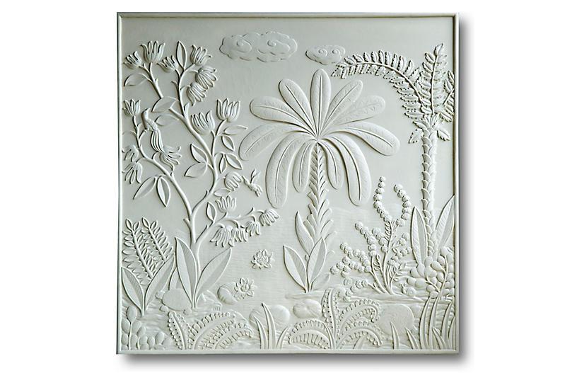Bas-Relief Garden Panel, Matte White