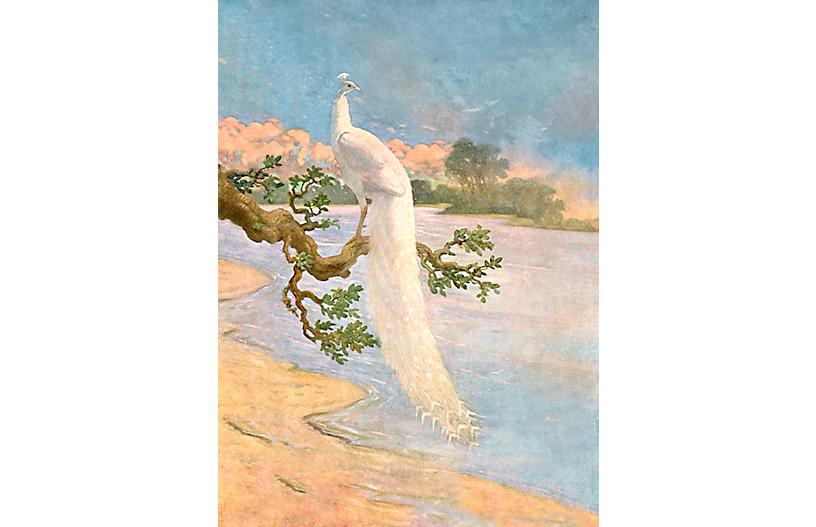 Peacock Mural Wallpaper, White/Sand