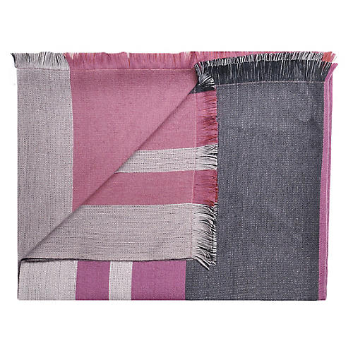 Alpaca-Blend Reversible Throw, Sangria