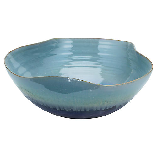 "20"" Large Glazed Swirl Reaction Bowl, Blue"