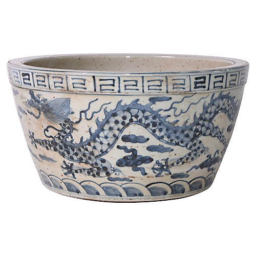"12"" Ming Dragon Bowl, Blue"