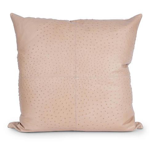 Ostrich Leather 24x24 Pillow, Cream