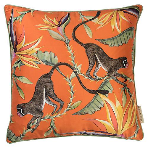 Paradise 16x16 Silk Pillow, Orange/Multi