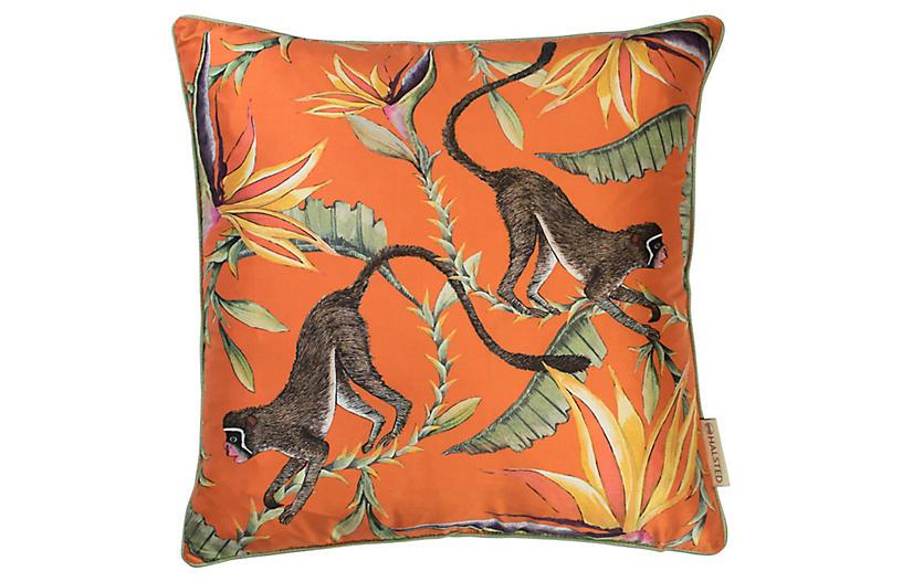 Paradise 16x16 Silk Pillow, Orange / Multi