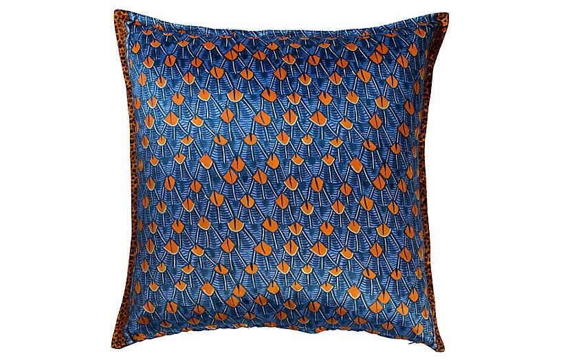 Feather 24x24 Pillow, Blue/Orange Velvet
