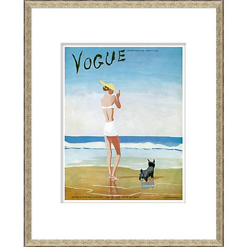 Vogue Magazine Cover, Beach Dog Woman