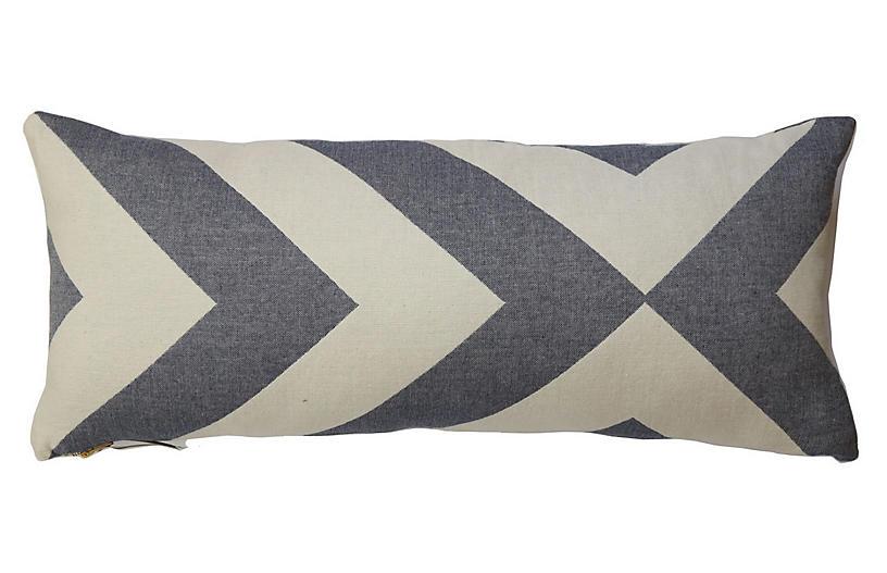 Lagom long lumbar Lumbar Cotton Pillow, Indigo