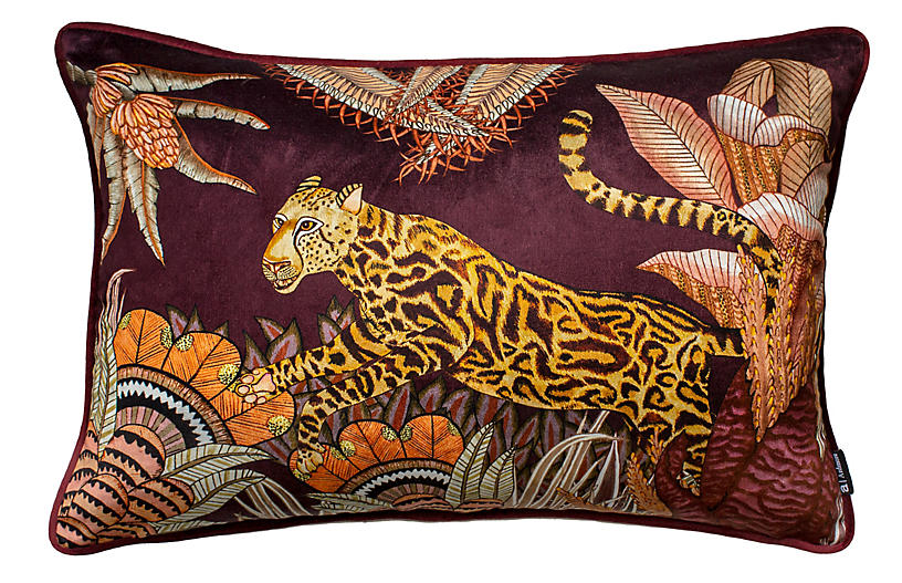 Cheetah Kings 16x24 Lumbar Pillow, Plum Velvet