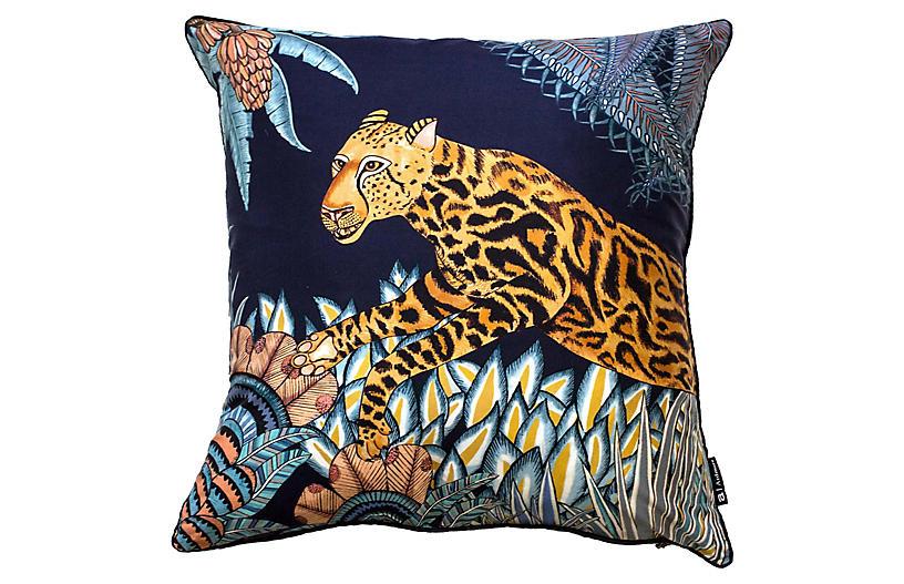 Cheetah Kings 16x16 Pillow, Tanzanite Silk
