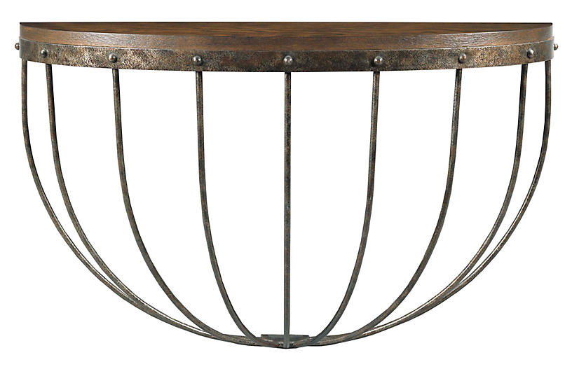 Stable Console, Tobacco/Antique Pewter