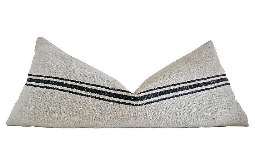 Sanremo 38x16 Body Pillow, Natural/Black
