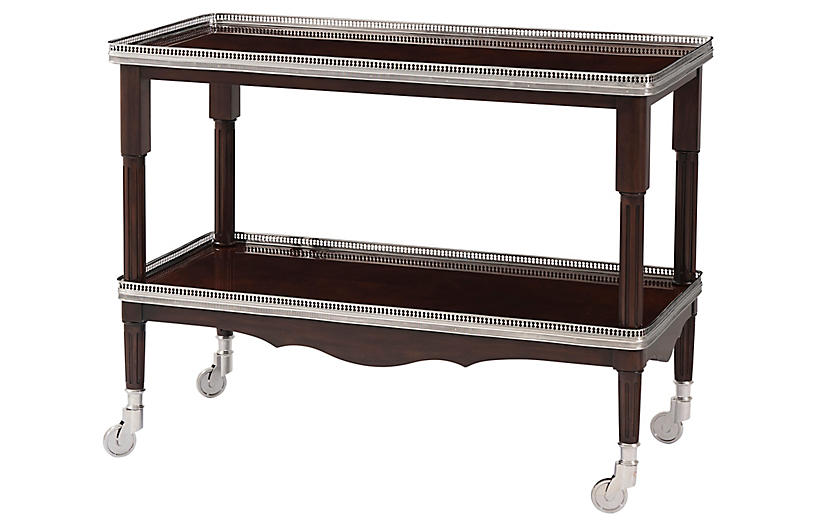 One Fifth Drinks Trolley, Estate Mahogany/Silver