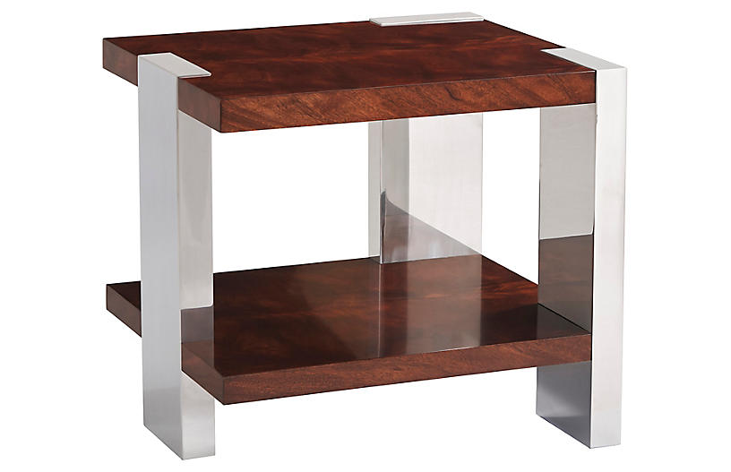 Aldrich End Table, Penthouse Mahogany/Silver