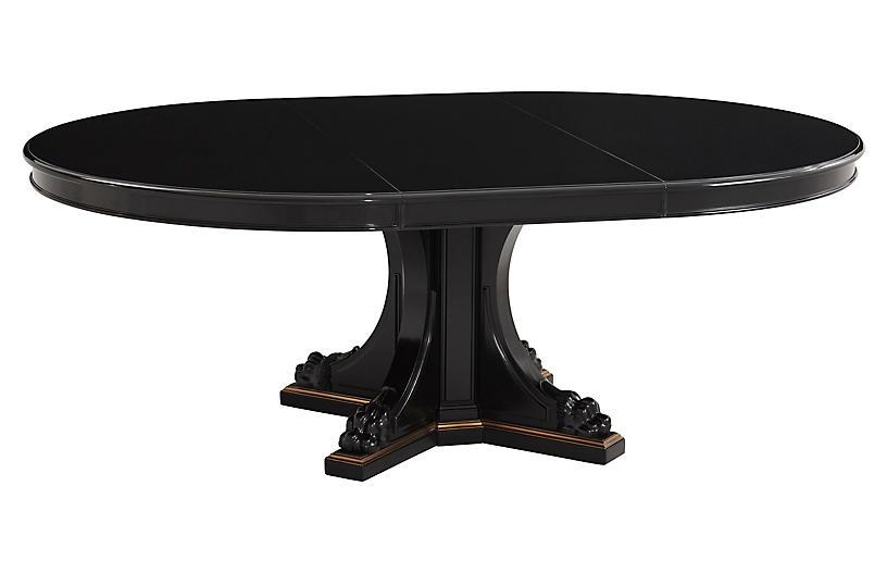 Empire Pedestal Table, Black Ebony/Brass