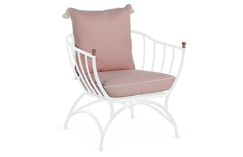 Frances Accent Chair, Blush Pink/White