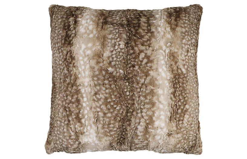 Penelope Faux-Fur 22x22 Pillow, Caramel Fauna