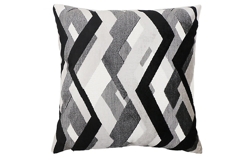 Hugh 22x22 Pillow, Onyx/Gray Velvet