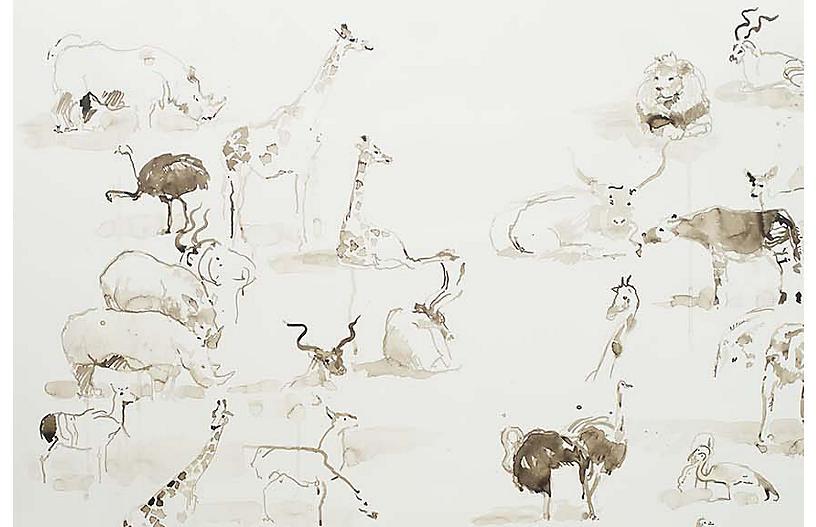 Mary H. Case Lg. Animals Wallpaper, Multi