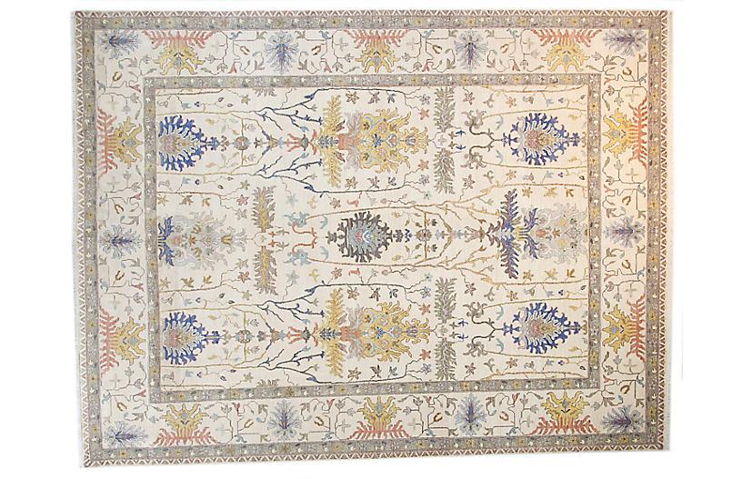 9'x12' Sari Wool Oushak Rug, Ivory/Ivory