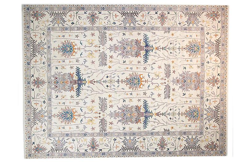 9'x12' Sari Wool Deirdre Rug, Ivory/Ivory