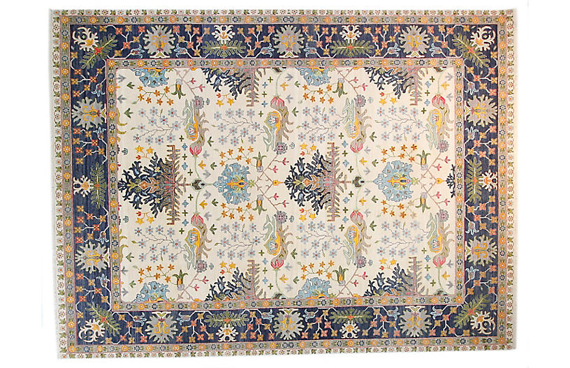 9'x12' Sari Wool David Rug, Ivory/Navy Blue