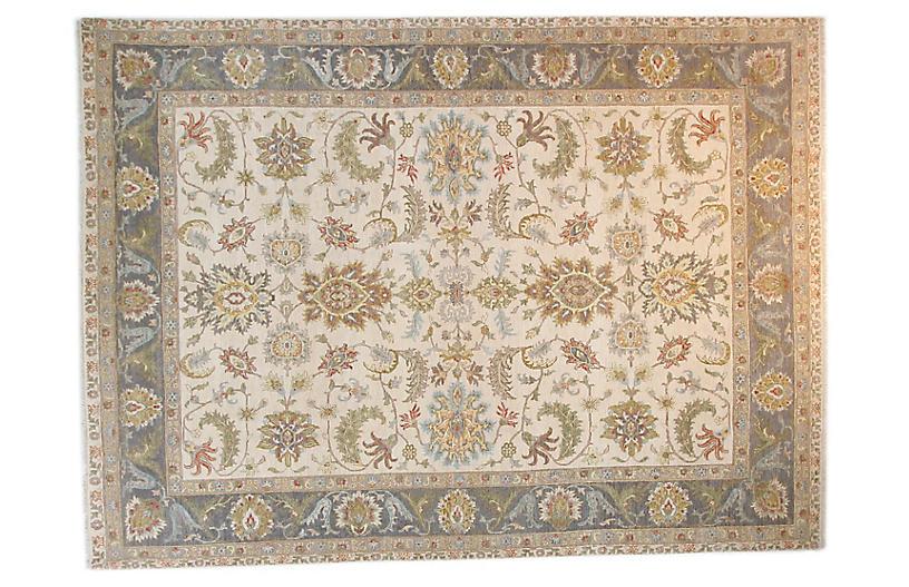 9'x12' Sari Wool Lann Rug, Ivory/Gray