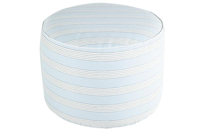 Lola Round Pouf, Chambray Stripe