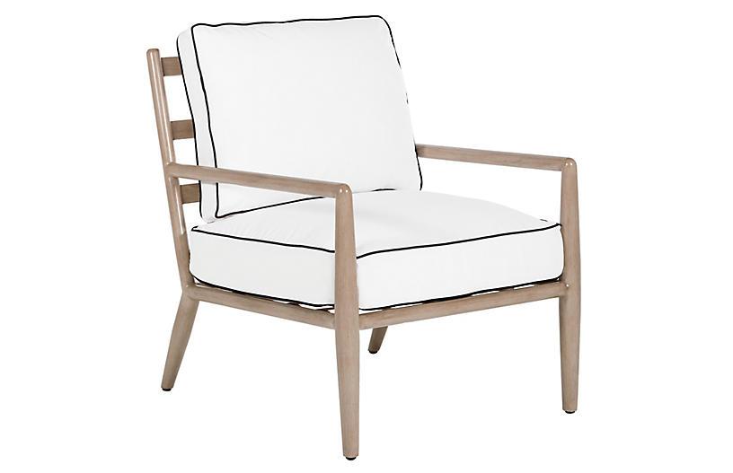 Siena Lounge Chair, White/Black Welt