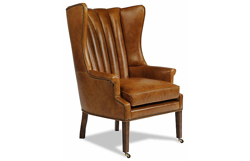 Philosopher Leather Wing Chair, Brown