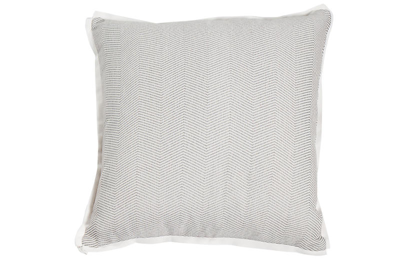 Siena Outdoor Pillow, Slate Herringbone