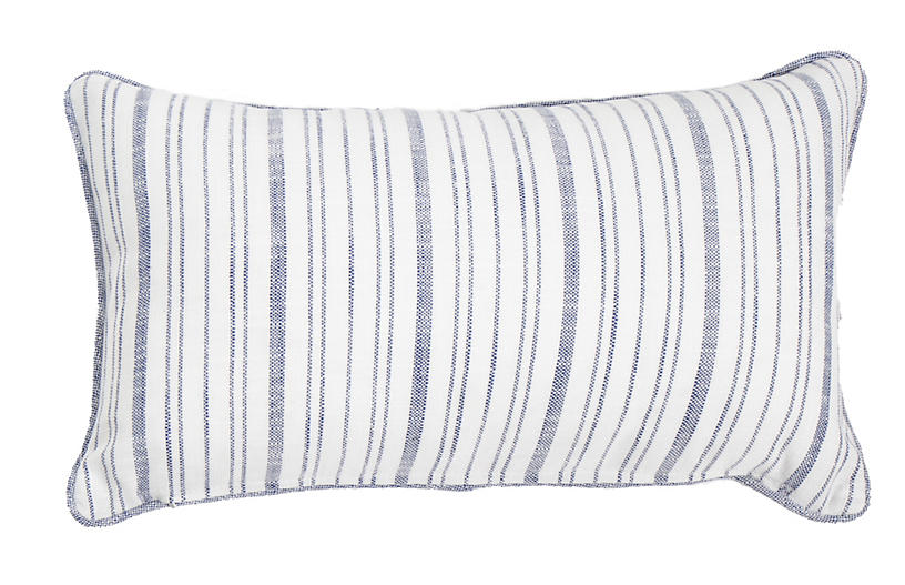 Emilia 14x24 Lumbar Outdoor Pillow, Indigo Stripe