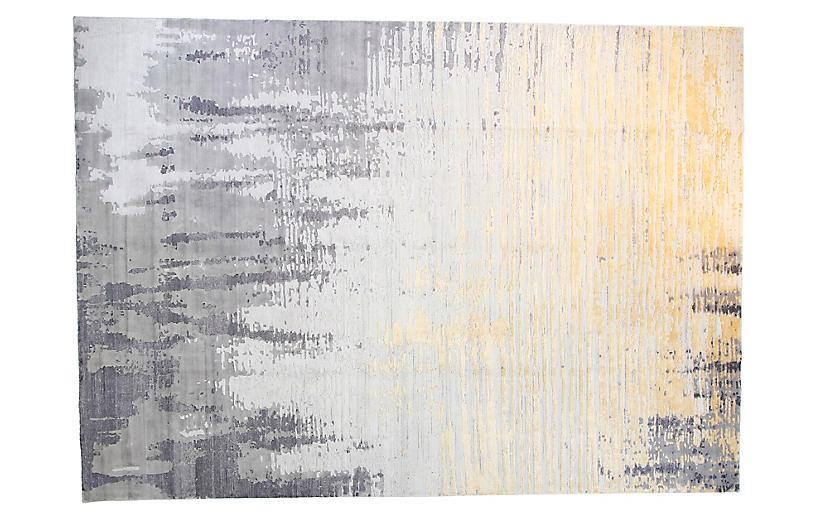 10'x14' Velvet Rug, Silver/Gold