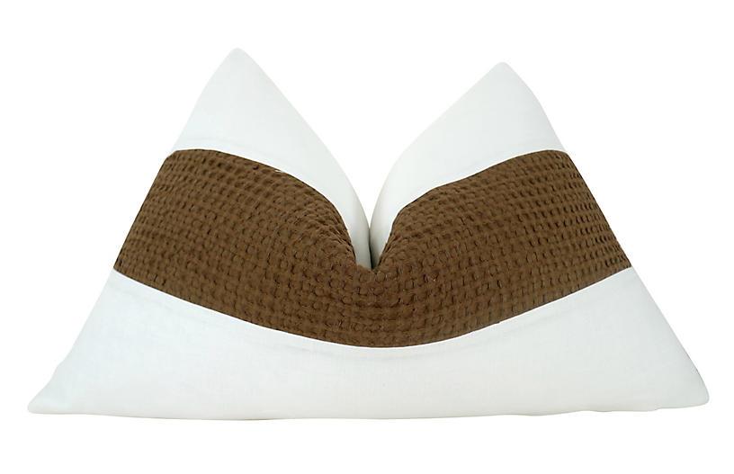 Hesperia 25x16 Pillow, White/Brown