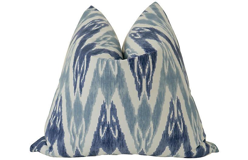 Palms 24x24 Pillow, Indigo/White
