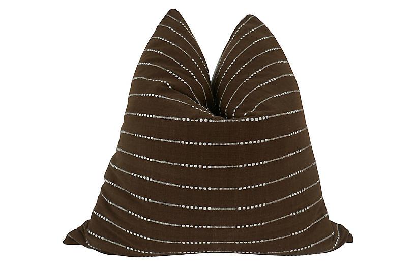 Solana 24x24 Pillow, Brown/White