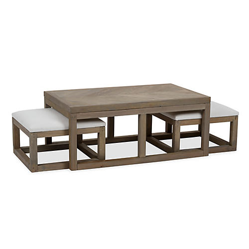 Asst. of 3 Ollie Coffee Table & Ottomans, Ivory
