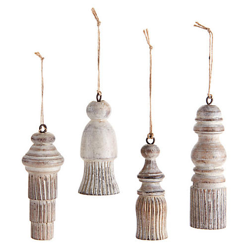 Asst. of 4 Tassel Distressed Ornaments, White