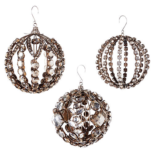 Asst. of 3 Jeweled Ball Ornaments, Champagne