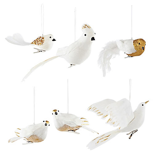Asst. of 6 Glittered Bird Ornaments, White/Gold