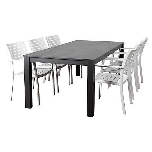 Noordam 7-Pc Dining Set, Gray/White