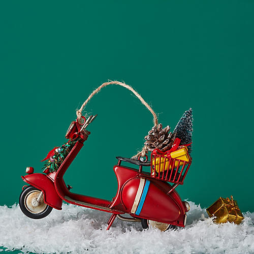 Holiday Scooter Ornament, Red/Multi