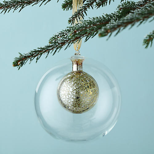 Glowing Orb Ball Ornament, Gold/Clear