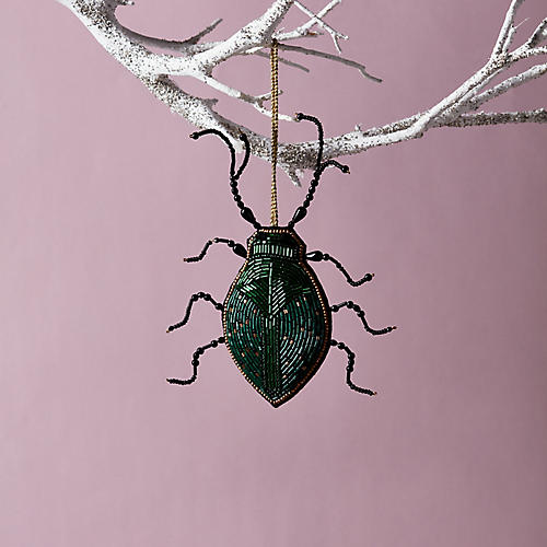 Beaded Beetle Ornament, Green/Gold