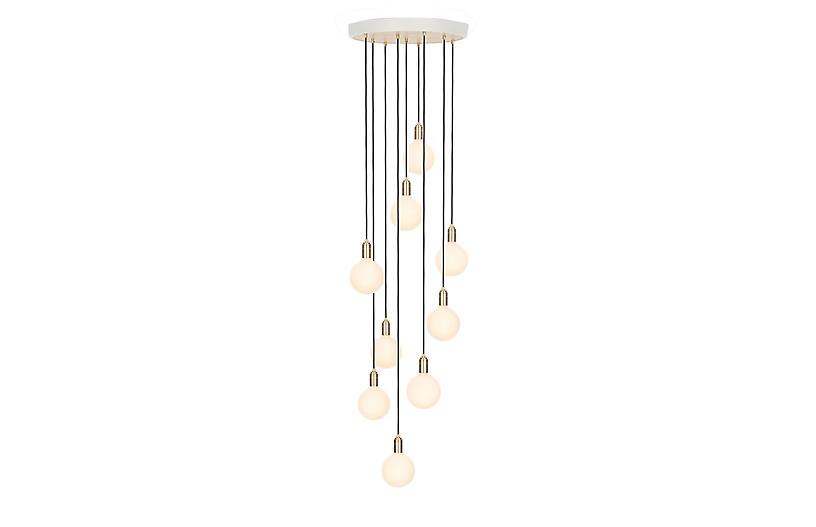 Ceiling Sphere IV Nine Pendant, Brass/White