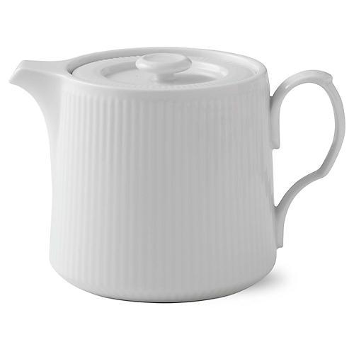 Fluted Teapot, White